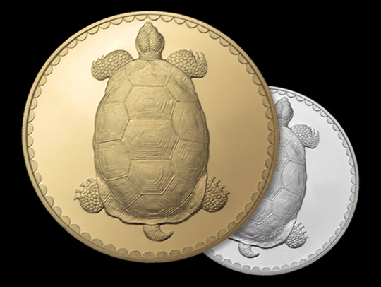 Illustration of gold and silver coins with turtles on them
