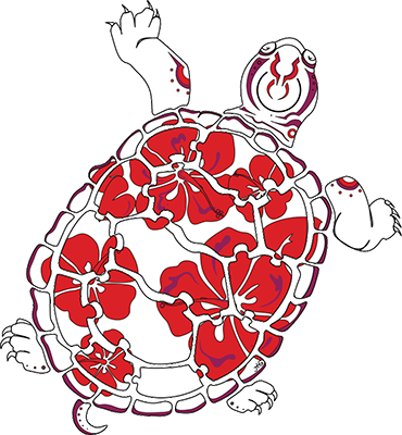 Terrapin with hibiscus decorations