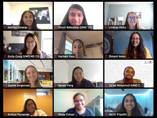 A group of young women coders participating in a video chat