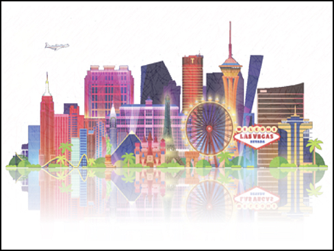 Illustration of the strip in Las Vegas that the conference is using as a logo