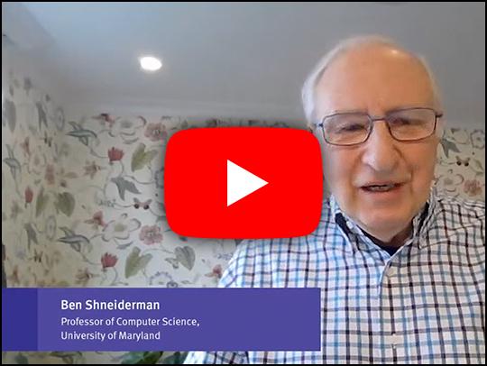 A screenshot of Ben Shneiderman's talk