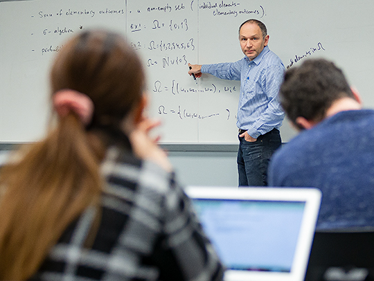University of Maryland Mathematics Professor Leonid Koralov teaches the probability and statistics course to students in the machine learning and data science graduate programs run by the UMD's Science Academy.